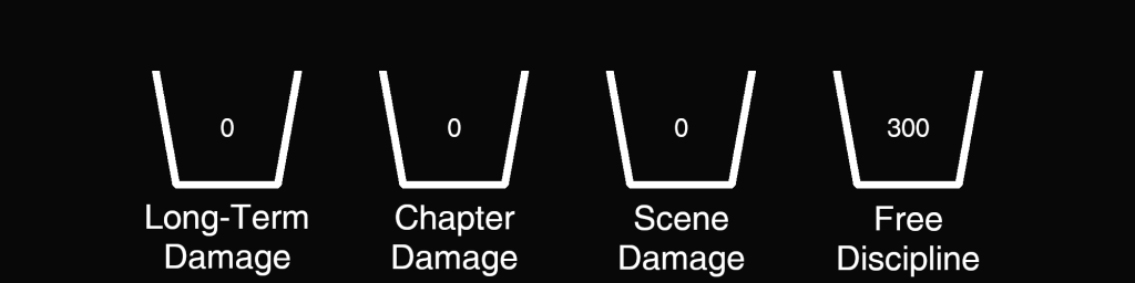 Damage Example - 300 Free Discipline, 0 Scene Damage, 0 Chapter Damage, 0 Long-Term Damage