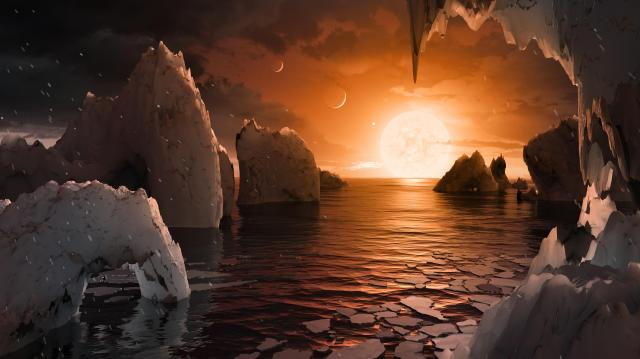 Surface of TRAPPIST-1f (Artist's Concept) (JPL Image Library, Image Credit: NASA/JPL-Caltech)