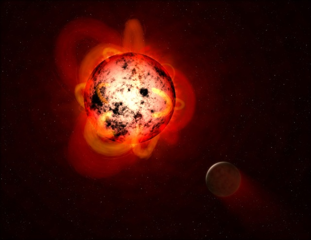 Flaring Red Dwarf Star (Illustration) (Artist's Concept) (JPL Image Library, Image Credit: NASA/ESA/STScI/G. Bacon)