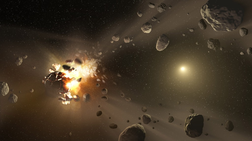 Asteroid Family's Shattered Past (Artist Concept) (JPL Image Library, Image Credit: NASA/JPL-Caltech)