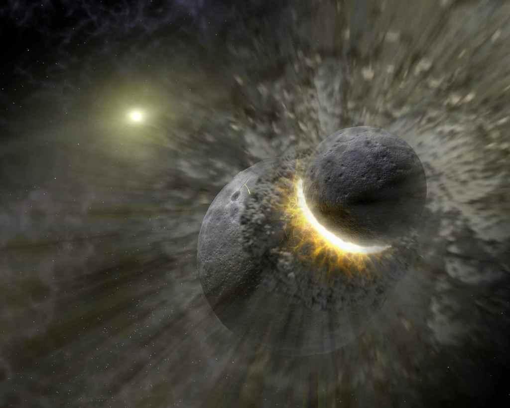 Massive Smash-up at Vega (Artist Concept) (Image Credit: NASA/JPL-Caltech)