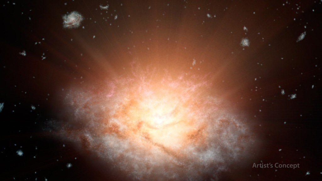 Dusty 'Sunrise' at Core of Galaxy (Artist's Concept) (Image Credit: NASA/JPL-Caltech)