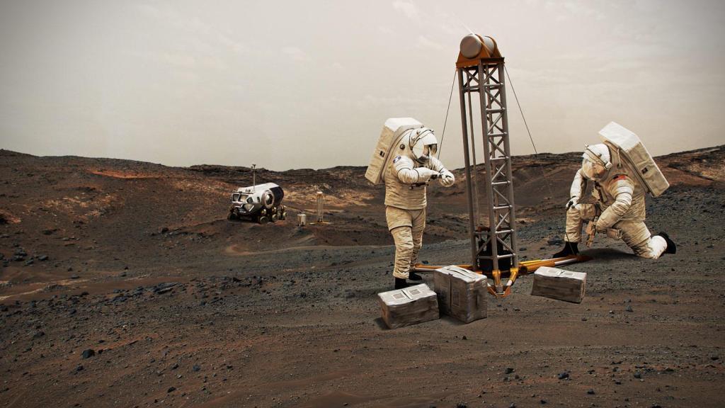 NASA Astronauts on Mars With Helicopter (Illustration) (Image Credit: NASA)
