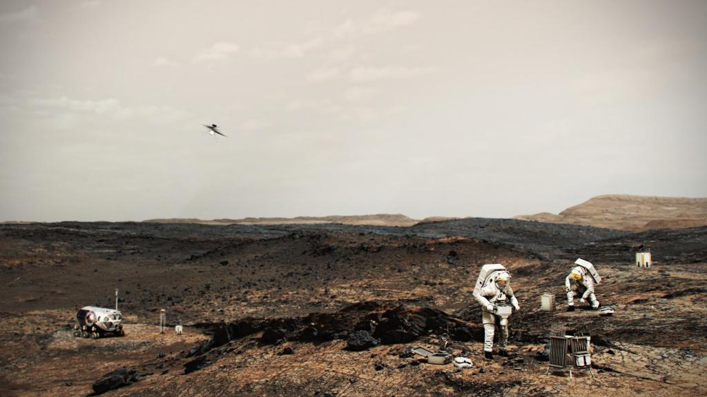 NASA Astronauts on Mars With Helicopter (Illustration) (Image Credit: NASA)
