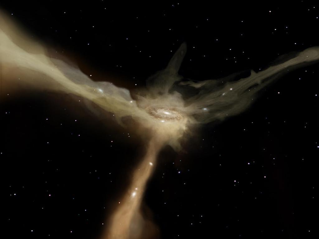 Galaxy Feeds Off Gas (Artist Concept) (Image Credit: ESA-OES Medialab)