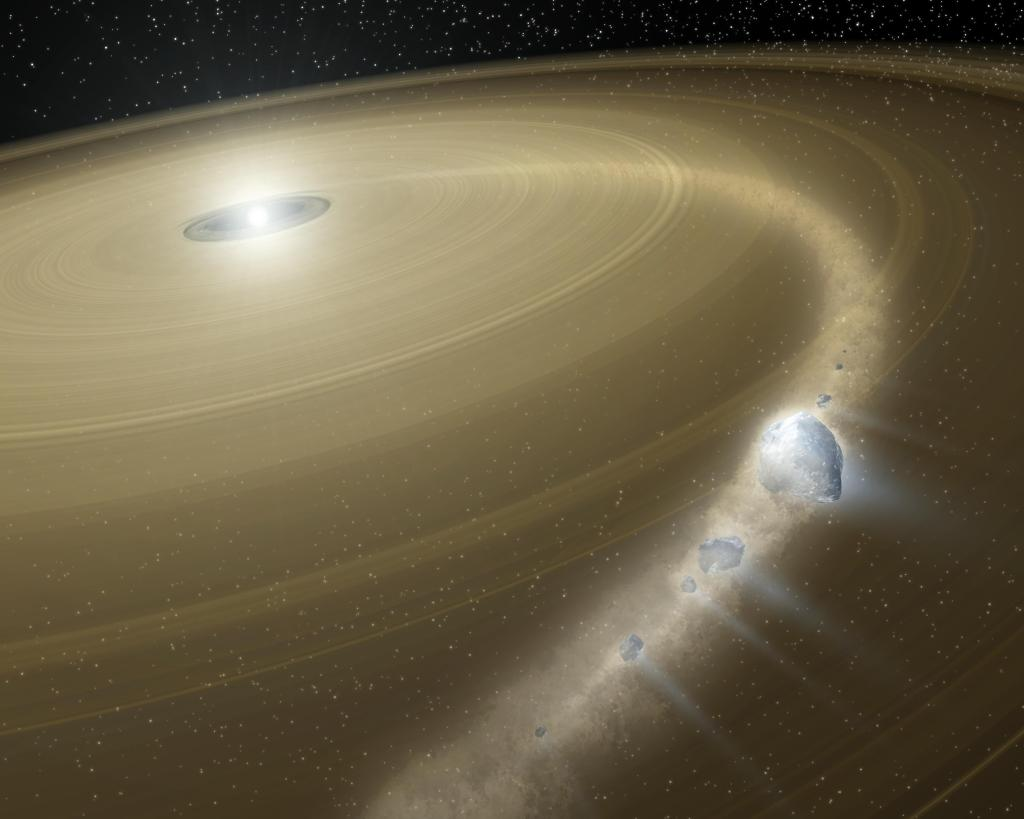 Comet 'Bites the Dust' Around Dead Star (Artist Concept) (Image Credit: NASA/JPL-Caltech)
