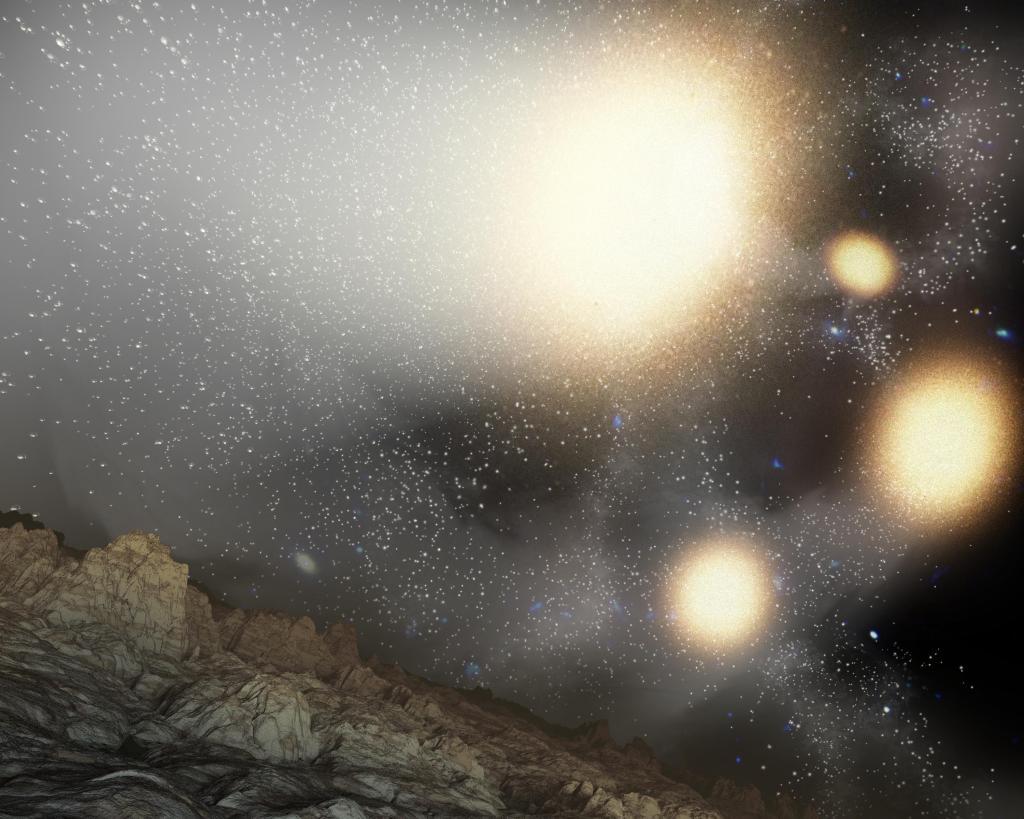 Fantastic Four Galaxies with Planet (Artist Concept) (Image Credit: NASA/JPL-Caltech/Harvard-Smithsonian CfA)
