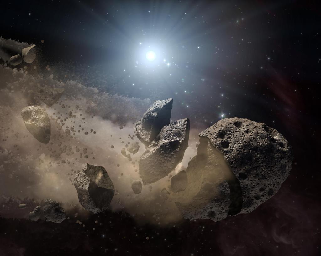 Asteroid 'Bites the Dust' Around Dead Star (Artist Concept) (Image Credit: NASA/JPL-Caltech)