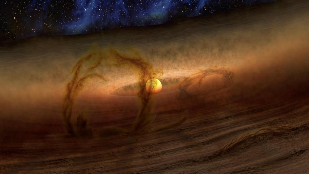 Loops of Gas and Dust Rise from Planetary Disks (Artist Concept) (Image Credit: NASA/JPL-Caltech)